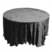 CRUSHED VELVET TABLE CLOTHS 132 ROUND - BLACK £11.99