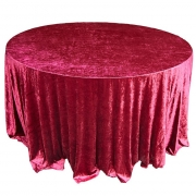CRUSHED VELVET TABLE CLOTHS 132 ROUND - GARNET £11.99