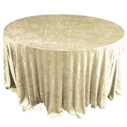 CRUSHED VELVET TABLE CLOTHS 132 ROUND - GOLD £11.99