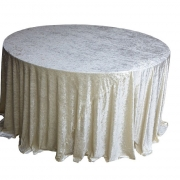 CRUSHED VELVET TABLE CLOTHS 132 ROUND - IVORY FROM £11.99