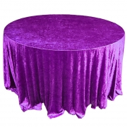 CRUSHED VELVET TABLE CLOTHS 132 ROUND - PURPLE FROM £11.99