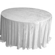CRUSHED VELVET TABLE CLOTHS 132 ROUND - WHITE FROM £11.99